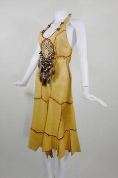 1970s Doe Skin Halter Dress with Iconic Hippie Motif image 4