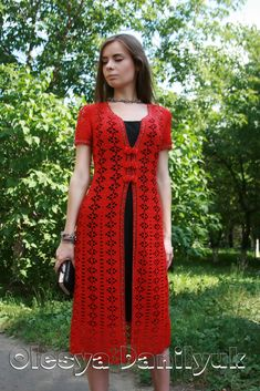 Knitting Patterns Coat An openwork crocheted coat, decorated with beads and color … Gilet Crochet, Crochet Coat, Crochet Jacket, Crochet Cardigan, Knit Dress, Crochet Hooks, Lace Dress, Knitted Coat, Crochet Short Dresses
