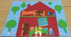 Boucle d'Or et les trois ours - Jeu de langage avec les éléments de la maison et les personnages plastifiés et repositionnables grâce à des velcros.