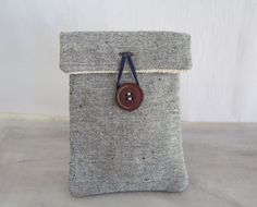 Rustic eco phone pouch with wooden button, Handmade vegan phone wallet, Upcycled unisex fabric boho phone sleeve, Minimalist phone pouch by sewingfairydust on Etsy