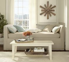 Lewis Slipcovered Daybed #potterybarn> can be pushed against a wall or can be floated in a room