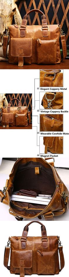 e051fa7cb322 Ekphero Genuine Leather Crossbody Bag Retro Dual-Use Big Capacity Handbag  For Men is hot-sale, many other cheap laptop Bags and briefcases on sale  for men ...