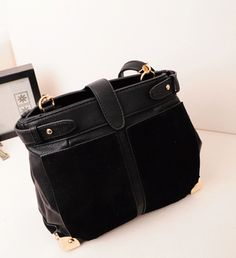 Patchwork Design Hasp Closed PU Black Shoulder Bag
