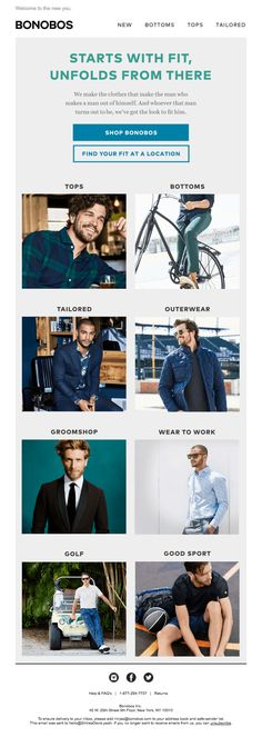 The Best Email Designs in the Universe (that came into my inbox) Html Email Design, Email Newsletter Design, Email Marketing Design, Email Design Inspiration, Best Email, Men Design, Workout Tops, Ecommerce, Work Wear
