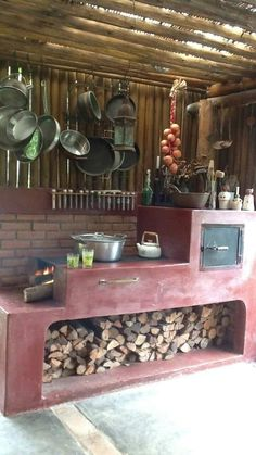 Dirty Kitchen Design, Rustic Kitchen Design, Outdoor Kitchen Design, Rustic Outdoor Kitchens, Outdoor Spaces, Kitchen Interior, Kitchen Decor, Backyard Kitchen, Home Kitchens