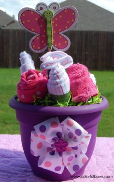 Garden Baby Shower / Baby Girl Gift Basket / READY TO SHIP / Forest Baby Shower / Baby Shower Gift Ideas / Unique Baby Gifts / Butterfly by ColorfulBows on Etsy  www.colorfulbows.com
