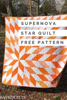 Create a simple quilt that's sure to make a splash with this stunning modern star quilt tutorial. This Supernova Star Quilt Tutorial may look complicated, but is incredibly simple to piece togethe Star Quilt Blocks, Star Quilt Patterns, Modern Quilt Patterns, Star Quilts, Easy Quilts, Modern Quilting Designs, Modern Quilt Blocks, Big Block Quilts, Quilting For Beginners