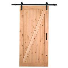 Masonite 42 in. x 84 in. Z-Bar Knotty Alder Interior Barn Door Slab with Sliding Door Hardware Kit-47613 - The Home Depot