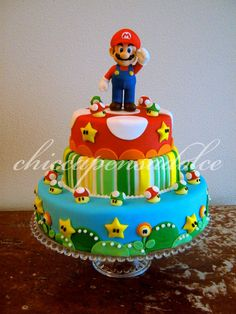 Like Mario and mushrooms Mario cake!! Mario Birthday Party, Super Mario Birthday, Super Mario Party, Birthday Cake, Birthday Ideas, Mario Bros Cake, Luigi Cake, Cupcakes Super Mario, Nintendo Cake