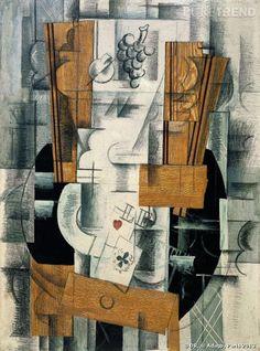 """Georges Braque """"Compotier et cartes"""" début 1913. Paris, Centre Pompidou, Musée national d'art moderne, don de Paul Rosenberg, 1947."""