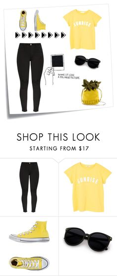 """""""🖤Just felling the yellow 💛"""" by silviamachado20 ❤ liked on Polyvore featuring Post-It, MANGO and Converse"""