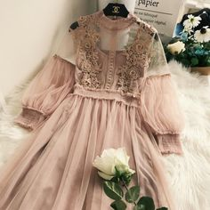 Buy Lucuna Set Plain Slipdress + Lace Panel LongSleeve Mesh Dress YesStyle is part of Dresses - Prom Dresses Blue, Homecoming Dresses, Flower Girl Dresses, Formal Dresses, Tulle Skirt Dress, Dress Up, Queen Dress, Long Sleeve Mesh Dress, Mode Ootd