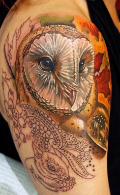 'Owl Progress' more woodland critters to come =) Custom tattoo by Sean Ambrose, owner and artist at Arrows and Embers in Concord, NH.  #owl #color tattoo #follow me #pin it #animal tattoo #tattoo ideas #tattoo designs #owl tattoo #arm tattoo #tattoos for girls #realistic tattoos #inked magazine #tattoo inspiration #body modification #body art #leaves #animals #berries #nature #wildlife #beautiful #love