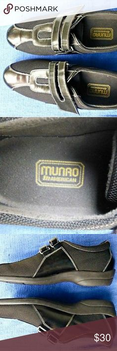 Munro American Women's Size 7 1/2 N Shoes Munro American Women's Size 7 1/2 N Brown Bronze Leather Mesh Loafers Shoes  Width: Narrow (AA, N) Material: Leather/Mash  They feature Hook & Loop Fasteners.  These shoes have never been worn but they were tried on. No original box. Munro American Shoes Flats & Loafers