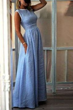 up to off, Hot sale Elegant High-Waisted Pocket Holiday Maxi Dress - Outfit ideen - Summer Dress Outfits Dress Skirt, Dress Up, Dress Long, Dress Casual, Dress Formal, Casual Summer Maxi Dresses, Casual Clothes, Long Denim Dress, Summer Outfits