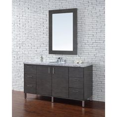 James Martin Signature Vanities Metropolitan 60 in. W Single Vanity in Silver Oak with Marble Vanity Top in Carrara White with White Basin
