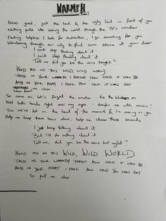 Bastille Warmth lyrics, handwritten by Dan