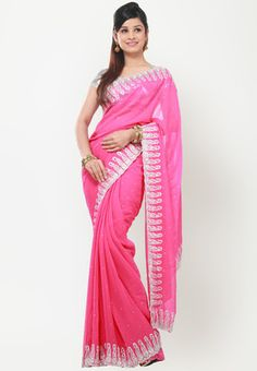 BARCODE 91 Embellished Pink Saree - Pink coloured saree for women from Barcode91. Made of georgette, this embellished saree measures 6.3 m, including a blouse piece. It also features diamante work.