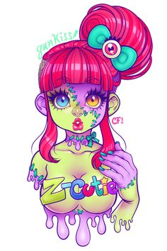 ☆☆☆Gunkiss' SOCIETY6 Store is now OPEN!!!☆☆☆ Prints, Totebags, Shirts, Hoodies, Pillows, Iphone Cases & Decals for sale! Zombie Cutie ❤ I've been holding this pic for the time that I ever open a store because I liked it for a t-shirt design, I hope you like my Zombie Cutie =)