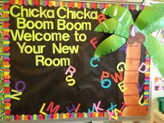 Got this idea from http://bulletinboardideas.org/2394/chicka-chicka-boom-boom-back-to-school-bulletin-board/ last year.  I love it for the incoming class!