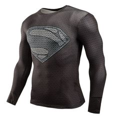 Superman Bodybuilding Long Sleeve Fitness Compression Shirt | 9th Wave