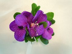 3 purple vanda orchids in a wrist style corsage Wedding Corsages, Vanda Orchids, Wrist Corsage, Florals, Dream Wedding, Prom, Weddings, Purple, Plants