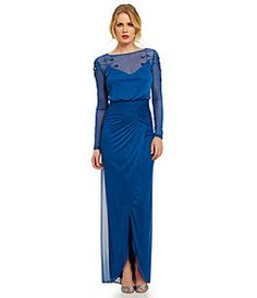 Adrianna Papell Beaded-Shoulder Blouson Gown