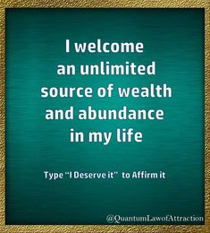I welcome and unlimited source of wealth and abundance in my life.i deserve it😁🙏🏼❤ Prosperity Affirmations, Daily Positive Affirmations, Money Affirmations, Positive Mindset, Positive Thoughts, Positive Vibes, Positive Quotes, Affirmation Quotes, Inspirational Quotes