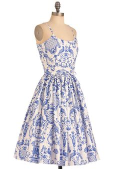 OHH YES I would wear this to every tea party! The blue, the pattern, sigh