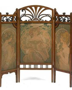 Oh the stories it could tell. ~ B Art Nouveau Screen Alphonse Mucha Belle Epoque, Art Nouveau Mucha, Alphonse Mucha Art, Art Nouveau Furniture, Art Nouveau Bedroom, Muebles Art Deco, Jugendstil Design, Photos Booth, Illustrator