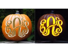 Monogrammed Pumpkins--the Pelican Girls want these and would make them from faux pumpkins so we could use them each year. Plus, they're perfect for fall and not just Halloween!