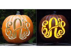 Monogrammed Carved Pumpkin
