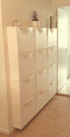 IKEA Trones wall storage for decluttering the closet. Bedroom Space Saving Ideas… IKEA Trones wall storage for decluttering the closet. Hallway Storage, Ikea Storage, Laundry Room Storage, Closet Storage, Bedroom Storage, Storage Spaces, Storage Ideas, Paint Storage, Laundry Rooms