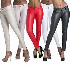 WOMEN LEATHER LOOK LEGGINGS TROUSERS BLACK WET LOOK JEANS SIZE 6 8 10 12 14