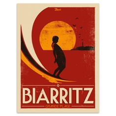 """BiarritzOriginal Illustration Poster"""" Grande Plage"""". Draw limited series. Paper 300g / m²MattCoatedFinish, our posters are packaged carefully in their protective cardboard cases."""