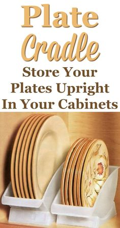 Here's a different way to store your plates inside your cabinets -- in a plate cradle. They are available for both dinner and salad size plates. Kitchen Pantry, Kitchen Hacks, Kitchen Gadgets, New Kitchen, Kitchen Storage, Cooking Gadgets, Kitchen Art, Cooking Tools, Kitchen Stuff