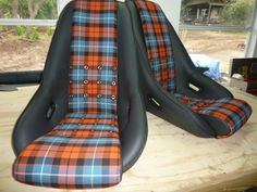 Avus seat,in leather  with perforated bolsters,plaid centers,Grommets and 5-point option.Classic Custom seats by GTSclassics
