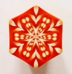 LARGE Maroon Red Gold and Cream Hexagon Polymer Clay by ClaybyKerm, $10.00