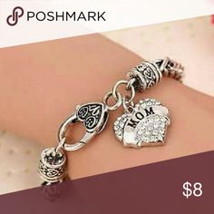 Mom Silver Crystal Bracelet New silver mom bracelet with crystal accents Jewelry Bracelets