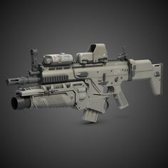 Digital model of a Combat Assault Rifle FN scar H 7.65mm cal. with 30mm grenade launcher, red dot sight and laser pointer