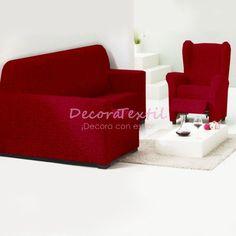 Funda Chaise Longue + Funda Relax Burdeos, modelo TUNEZ, extensibles hasta 280 cm, funda sofá chaise longue para brazo derecho y izquierdo, alta calidad y má...