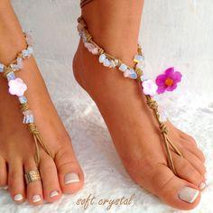 Barefoot sandals. beaded sandals, motherof prarl star boho barefoot sandles, crochet barefoot sandals, , yoga, anklet  hippie shoes