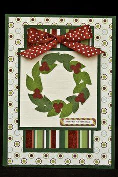 "Christmas Card - Patterned Paper:  Imaginisce; Ribbon: Michaels; Wreath: ""Joys of the Seasons"" Cricut cartridge"