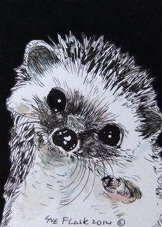 ACEO 2014 New Original Painting Miniature Art - The Hedgehog by Sue Flask