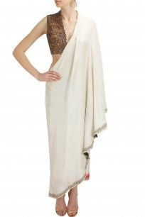 anand kabra Ivory embroidered drape sari tunic with fully embellished attached blouse