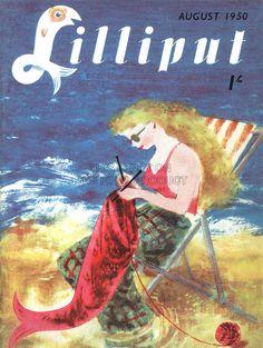 MAGAZINE LILLIPUT AUGUST 1950 KNIT MERMAID BEACH FINE ART PRINT POSTER