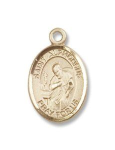 Small Childrens Jewelry, Girls or Boys 14kt Gold St. Alphonsus Medal Hail Mary Gifts. $340.50. Very Small, Suitable for a child. 1/2 x 1/4