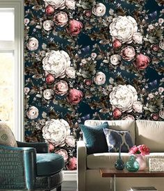 Vintage Flower Wallpaper Mural Art Wall Decals Wall Decor Printed Photo Floral Wall Paper Rolls Contact Paper for Living Room Vintage Flowers Wallpaper, Flower Wallpaper, Blue Tapestry, Wall Tapestry, Flower Mural, Painting Shower, Wall Decals, Wall Art, Mural Art