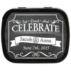 Chalkboard Celebrate Personalized Wedding Favor Mint Tins, great for any theme! #chalkboardideas #favorideas