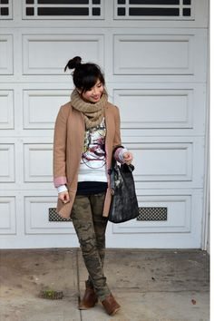 Jacket: H&M (old), Sweatshirt: Proezna Schouler x Neiman Marcus for Target , Camo Pants: Zara , Shoes: Old Navy , Accessories: H&M snoo. Camo Skinny Jeans, Camo Pants, Old Navy Boots, H&m Jackets, Outfit Combinations, Personal Style, Zara, Camel, My Style